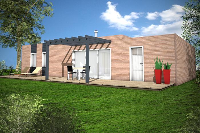 maison toit plat ossature bois pergola terrasse