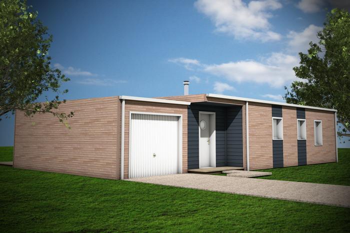maison ossature bois toit plat 3 chambres garage