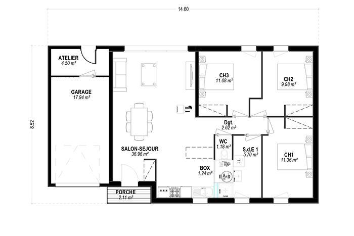 plan maison bois toit plat contemporaine